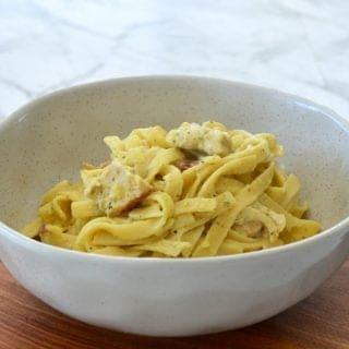 Creamy Chicken Bacon and Pesto Pasta