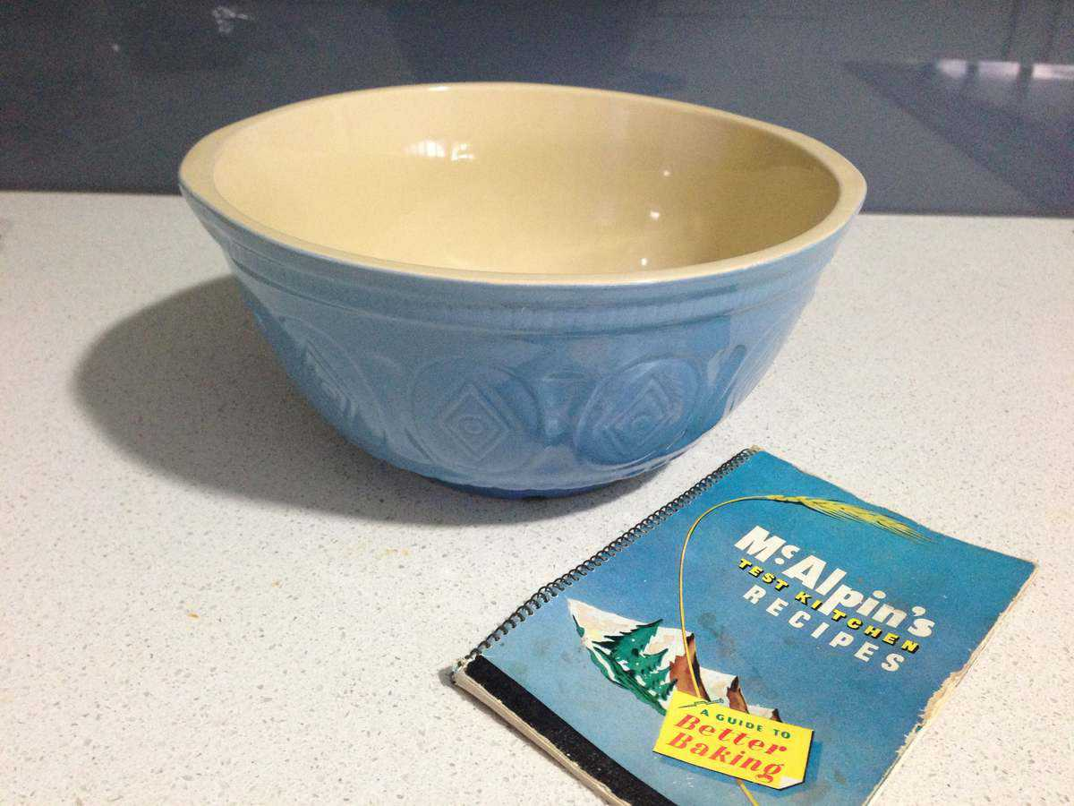 My new 'Nana Bowl' and one of her recipe books