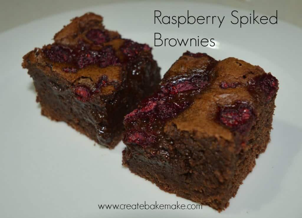 Raspberry Spiked Chocolate Brownies - Create Bake Make