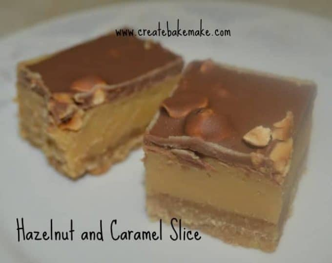 Hazelnut and Caramel slice