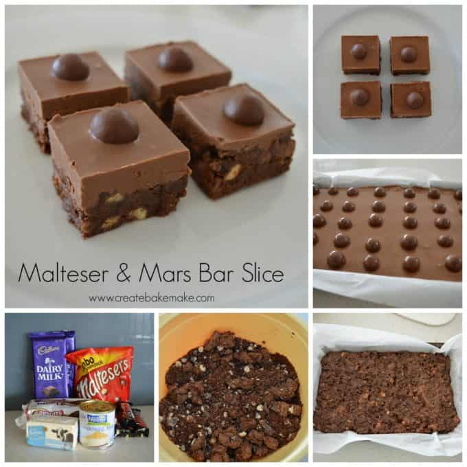 Malteser and Mars Bar Slice Collage