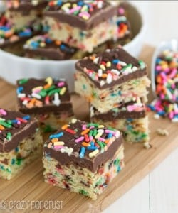 Funfetti Cookie Fudge Slice by Crazy for Crust