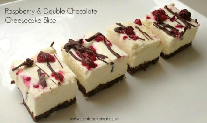 raspberry and double chocolate cheesecake slice