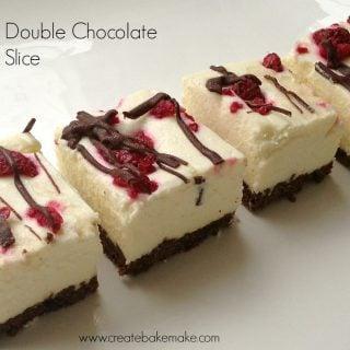 Double chocolate and cheesecake slice