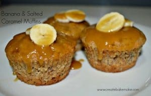 Banana and salted caramel muffins title