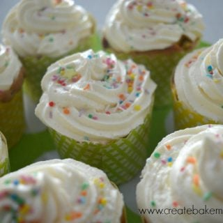 Frosted M&M Vanilla Cupcakes