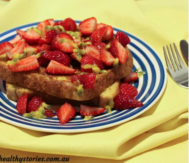 French Toast with Strawberries and Passionfruit