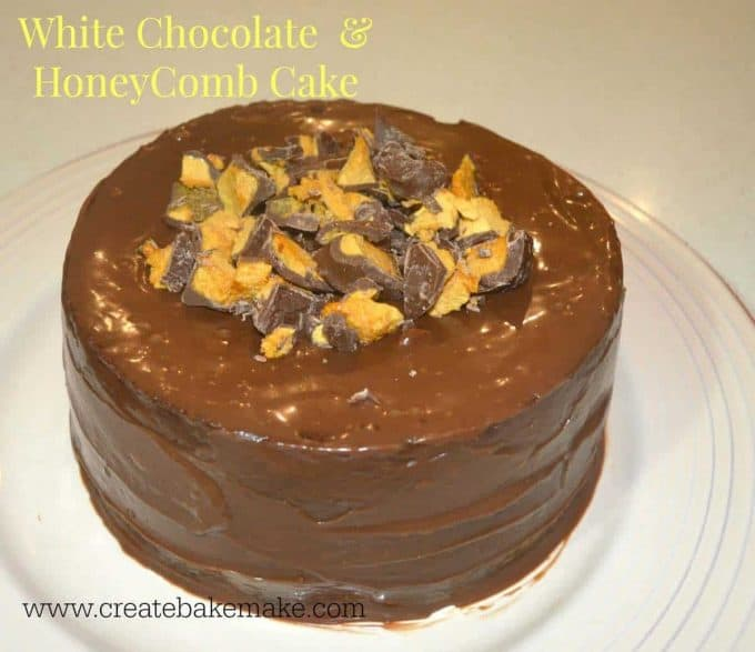 white chocolate mud cake with honeycomb pieces