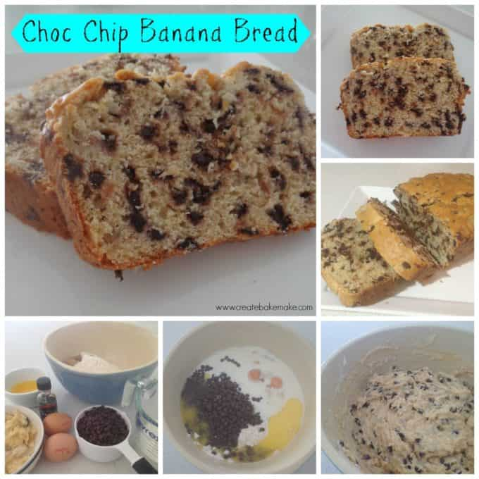 choc chip banana bread collage