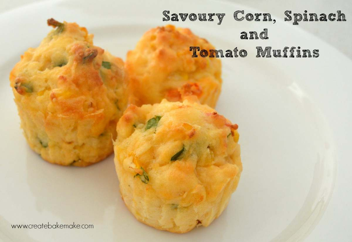 Corn, Spinach and Tomato Muffins