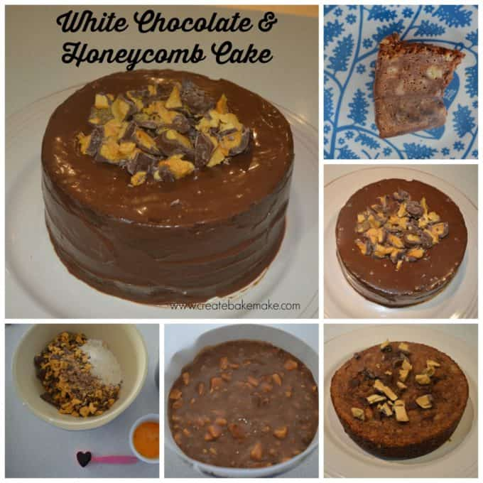 white chocolate and honeycomb cake