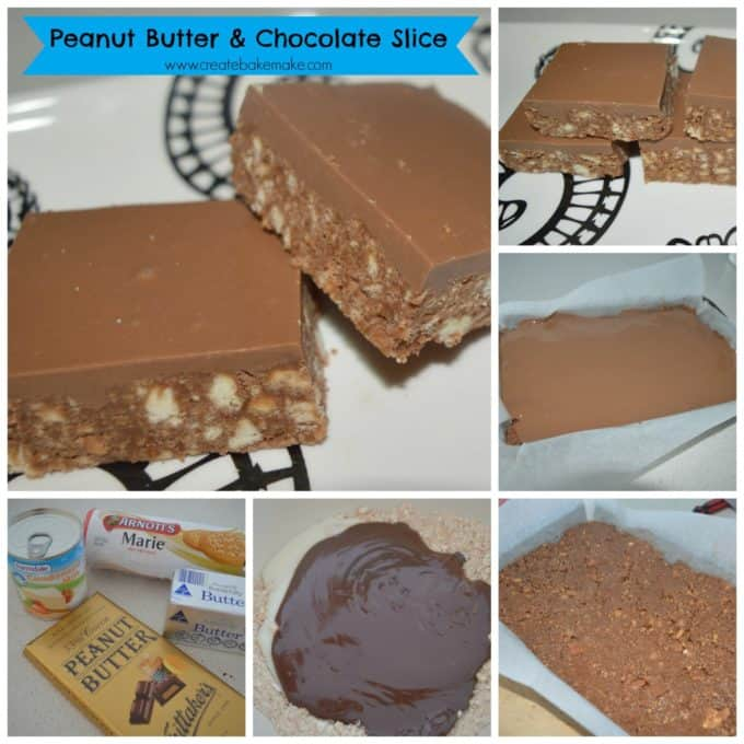 Peanut Butter and chocolate slice collage