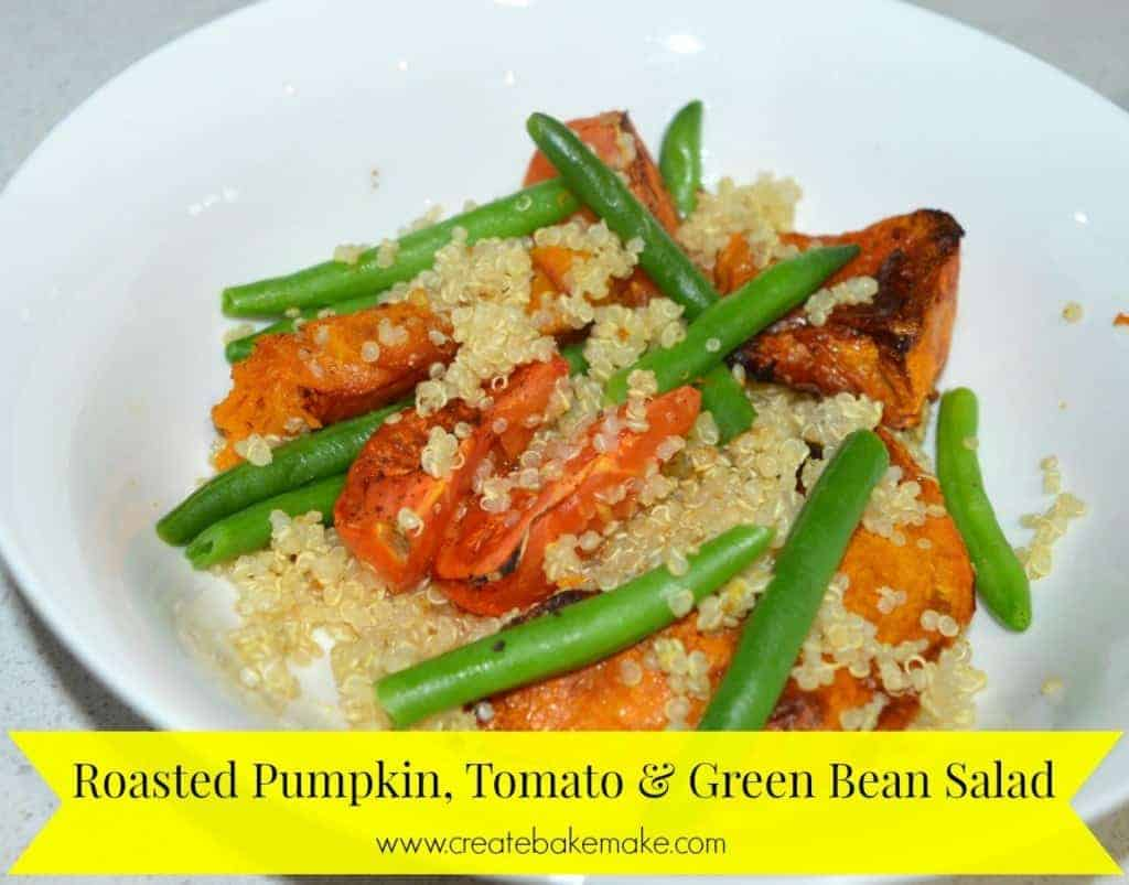 Roasted Pumpkin Tomato and Green Bean Salad