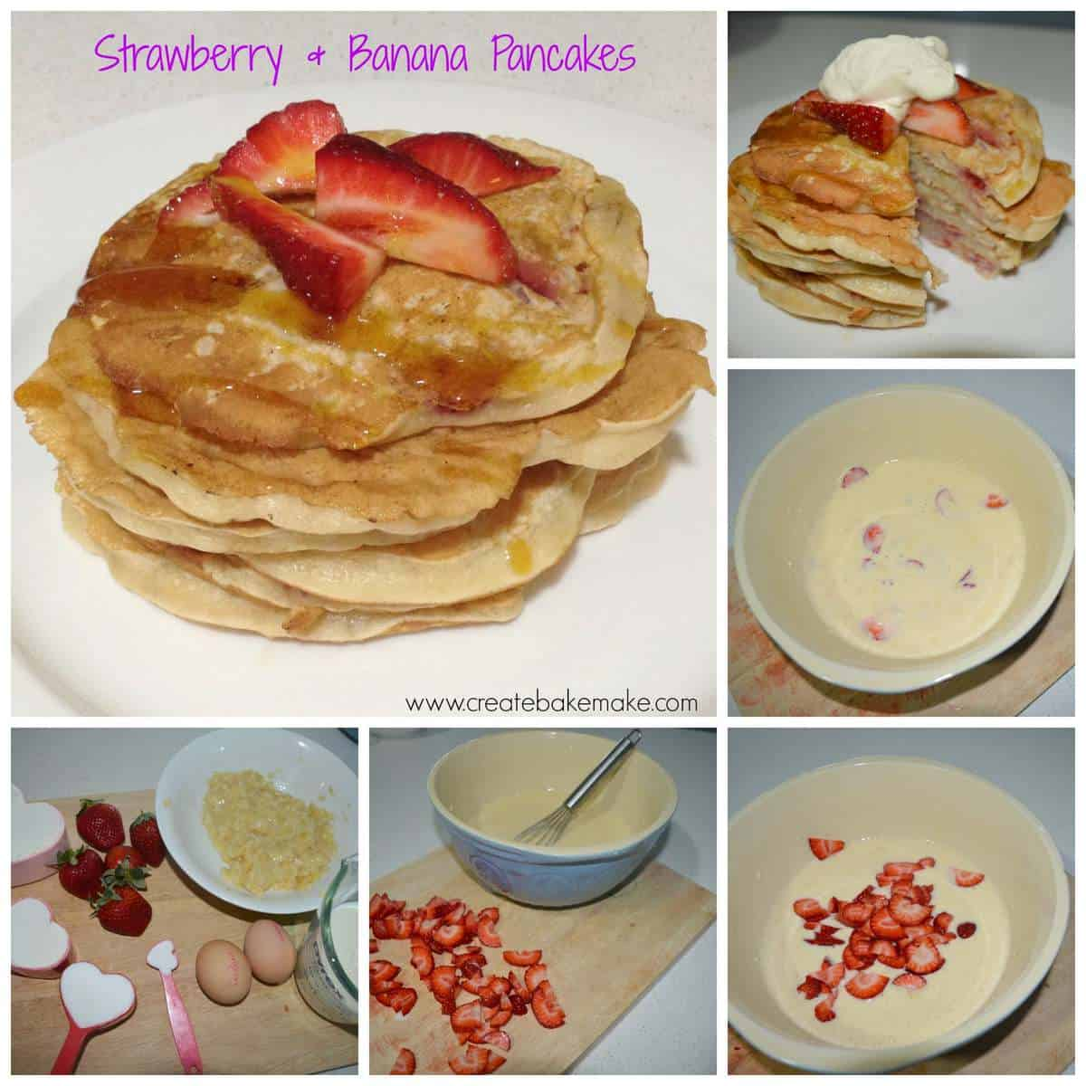 Strawberry and banana pancakes create bake make how to make strawberry and banana pancakes ccuart Gallery