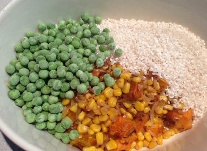 corn, pea and pumpkin risotto