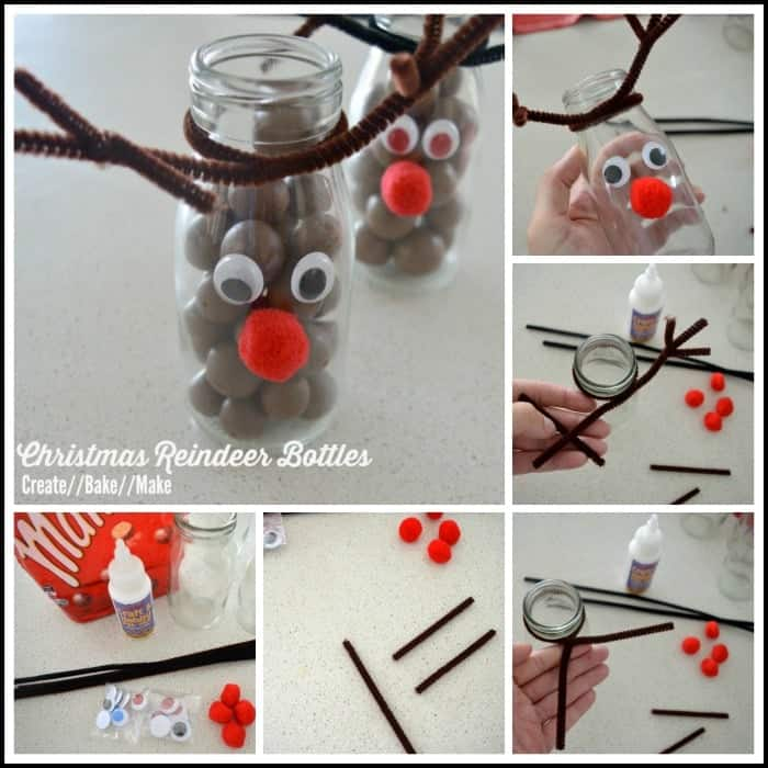 Christmas Reindeer Bottles Collage