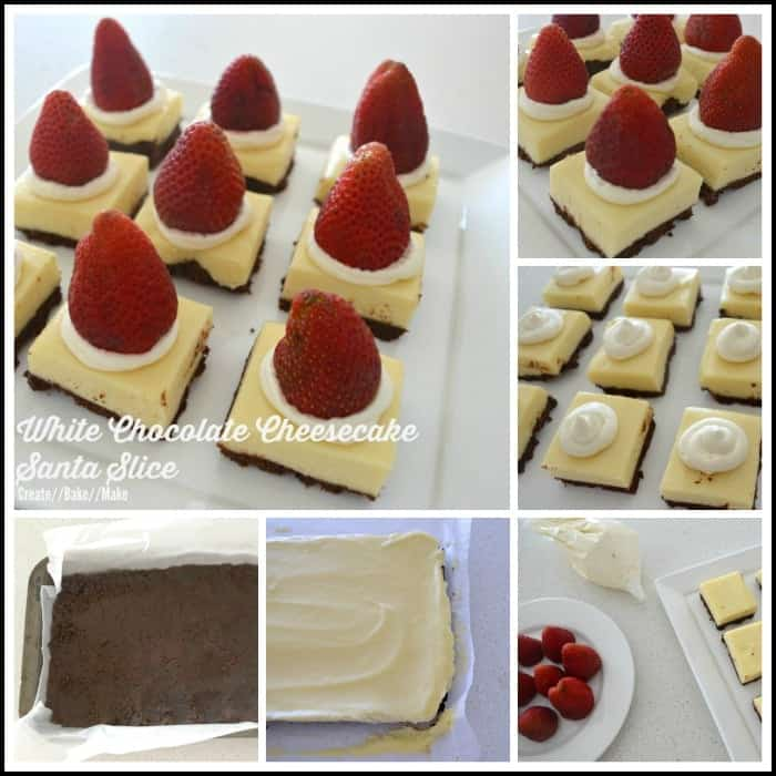 White Chocolate Cheesecake Santa Slice Collage