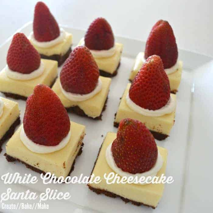 White Chocolate Cheesecake Santa Slice
