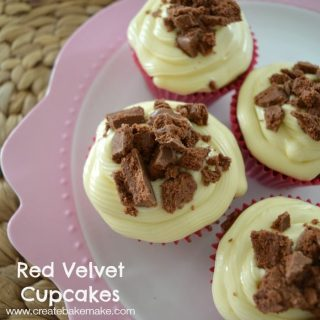 Red Velvet Cupcakes with Cream Cheese Frosting and Tim Tams