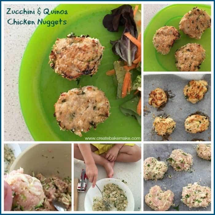 Zucchini and Quinoa Chicken nuggets collage