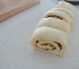 Vegemite and Cheese Scroll dough cut into portions