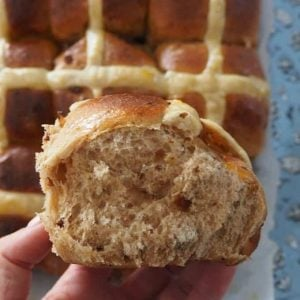 side view of hot cross bun