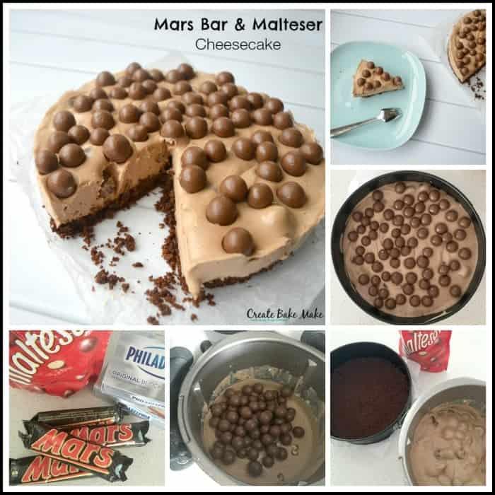 Mars Bar and Malteser Cheesecake Collage