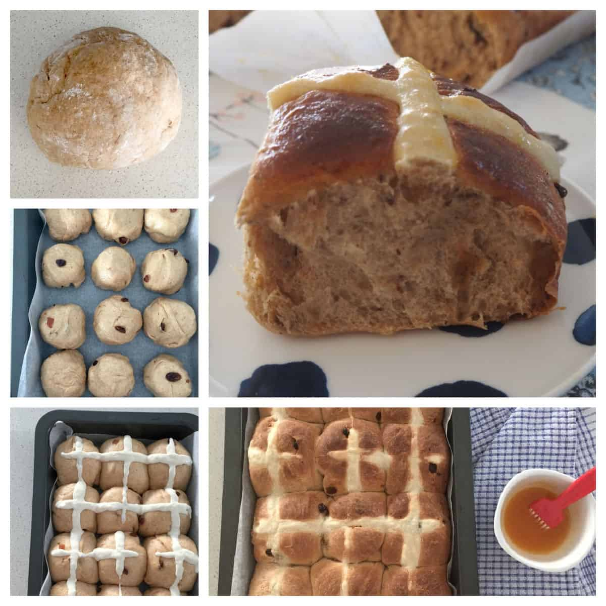 collage of steps to make hot cross buns