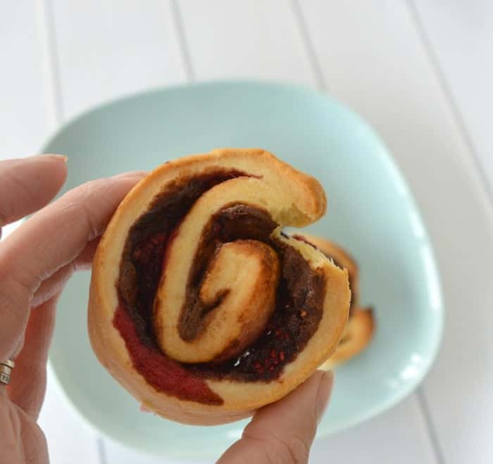 Nutella and Raspberry Scrolls