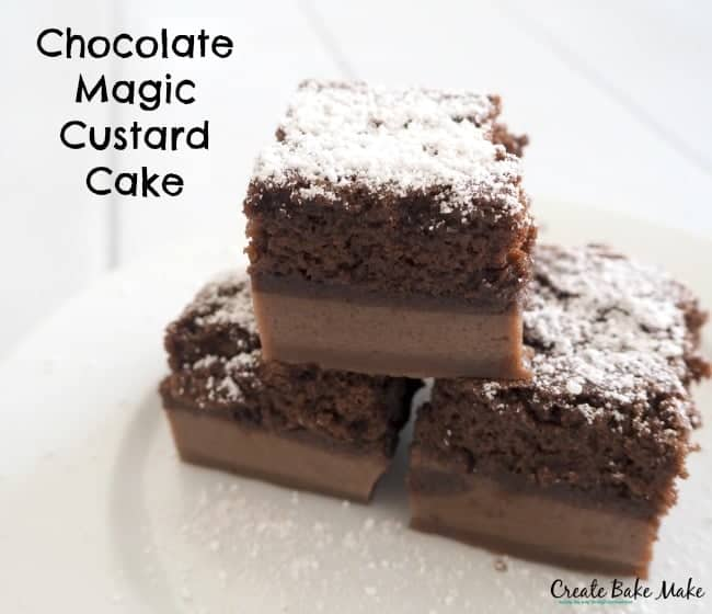 Cake With Chocolate Custard : Chocolate Magic Custard Cake - Create Bake Make