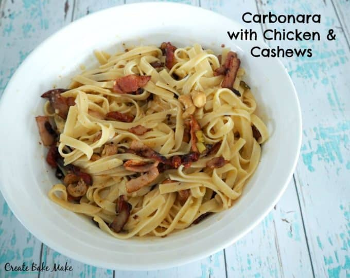 Easy Carbonara with Chicken and Cashews