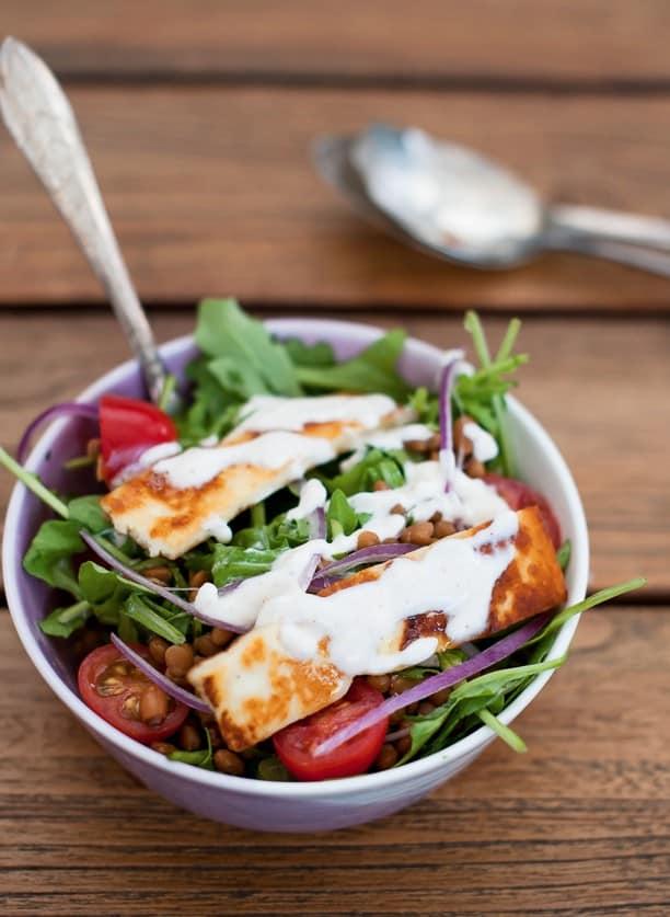 Lentil and Haloumi Salad