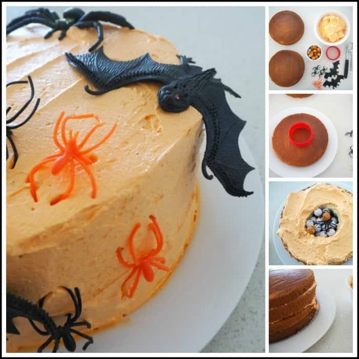 Halloween Piñata Cake Collage