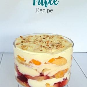 Side view of Trifle in glass bowl