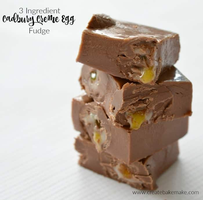 Three ingredient Cadbury Creme Egg Fudge