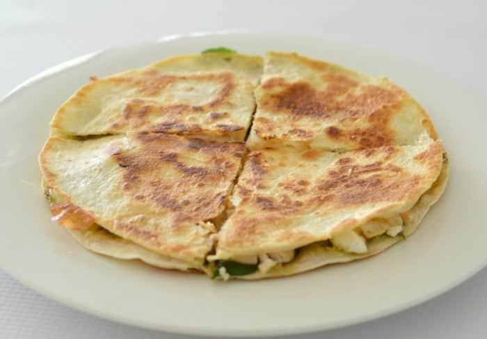 Chicken Cheese and Pesto Quesadilla