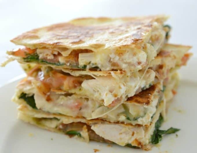 Chicken Cheese and Pesto Quesadilla