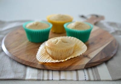 Banana muffins on serving board