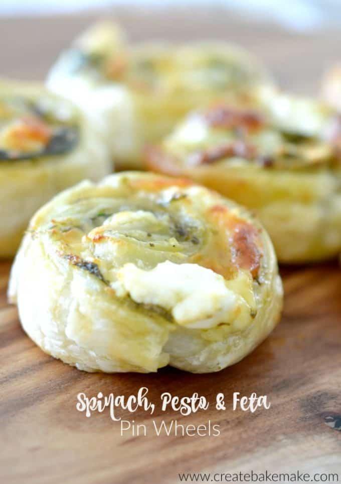 Spinach Pesto and Feta Pinwheels