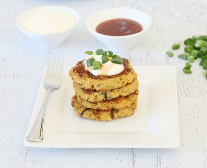 Cheesy Quinoa Sweet Potato and Zucchini Fritters