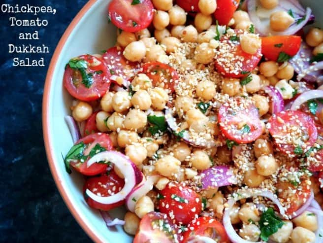 Chickpea tomato and dukkah salad