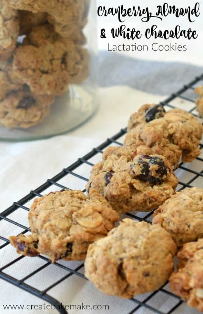 Cranberry Almond and White Chocolate Lactation Cookies