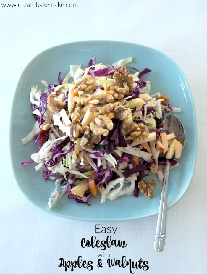 Cranberry Apple Coleslaw with Walnuts