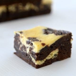 Easy Mocha Brownie with Peppermint Cheesecake Swirl