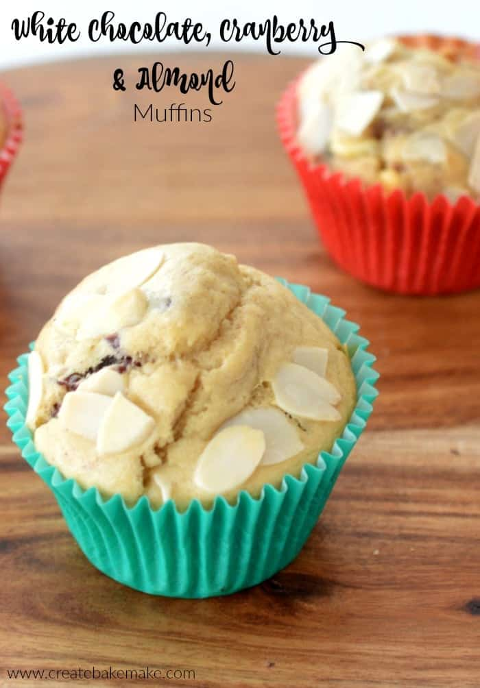 White Chocolate Cranberry and Almond Muffins