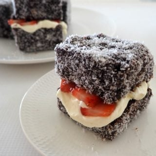 Lamingtons with Strawberries and Cream