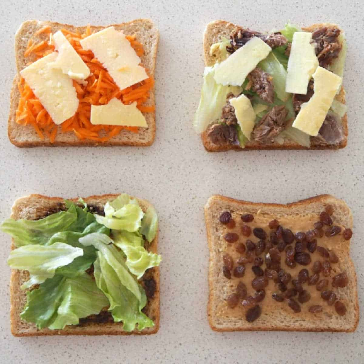 Image of four open sandwiches with different fillings