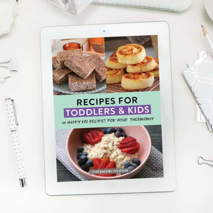 Image of front cover of recipes for toddlers and kids ebook on ipad