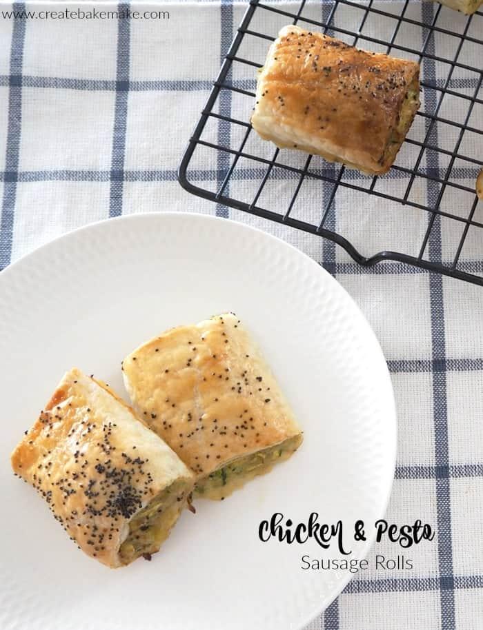 Chicken Pesto Sausage Rolls