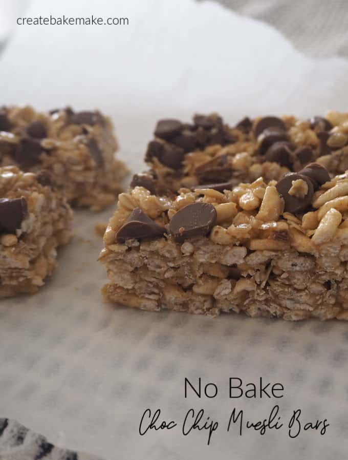 No Bake Choc Chip Muesli Bars Recipe